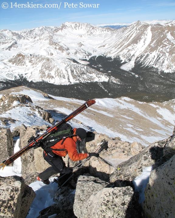 Frank Konsella climbing Mt. Yale.