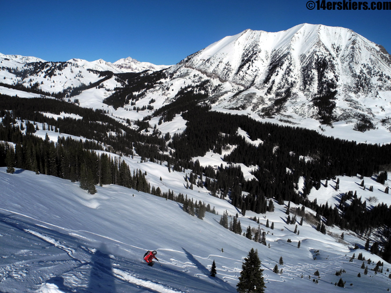 Frank skiing Coney's while backcountry skiing in Crested Butte