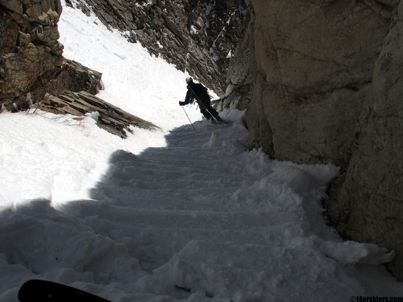 tight couloir skiing
