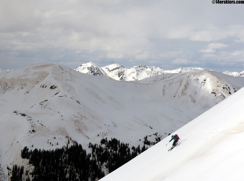 brittany konsella skiing star and taylor peaks behind