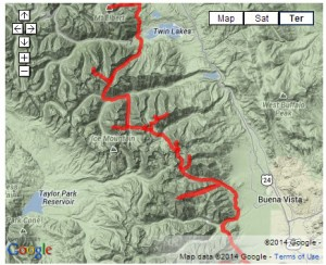 A map of the Fourteeners for Teens planned expedition route.
