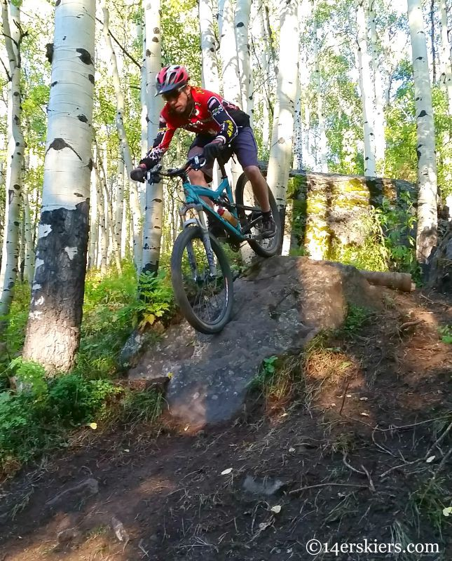 Frank Konsella mountain biking on Boulder Mason Trail at Crested Butte Mountain Resort