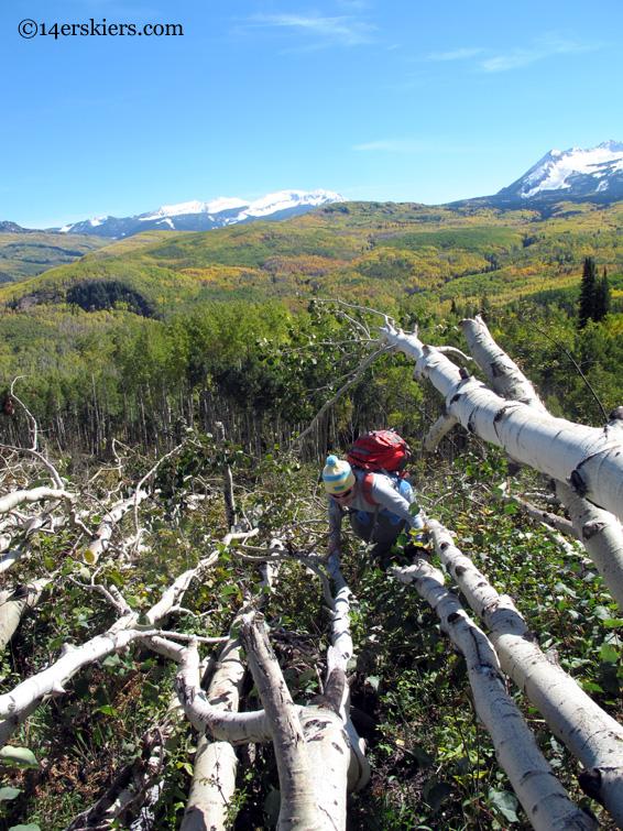 hiking avalanche debris on Marcellina