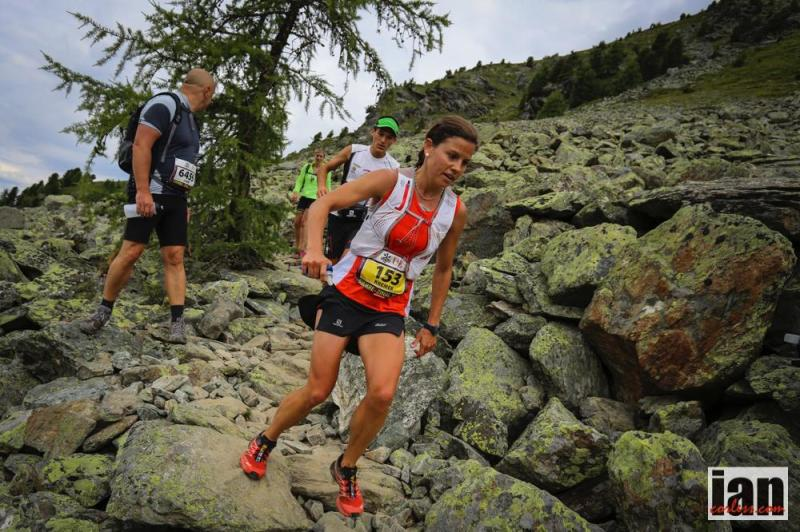 Stevie Kremer pushing it hard during a 32 km race in Sierre-Zinal, Switzerland, part of the  international Sky Running Series.