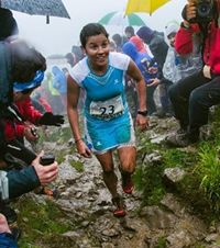 Stevie Kremer running a 42 km race in Zegama, Spain in May, 2014.