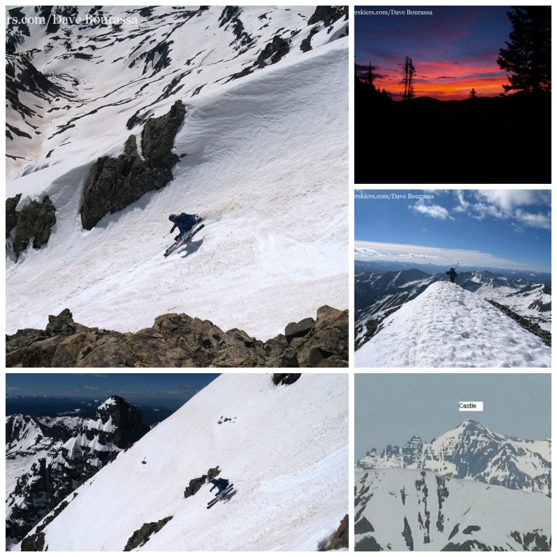 backcountry skiing the east face of Castle Peak, Colorado fourteener