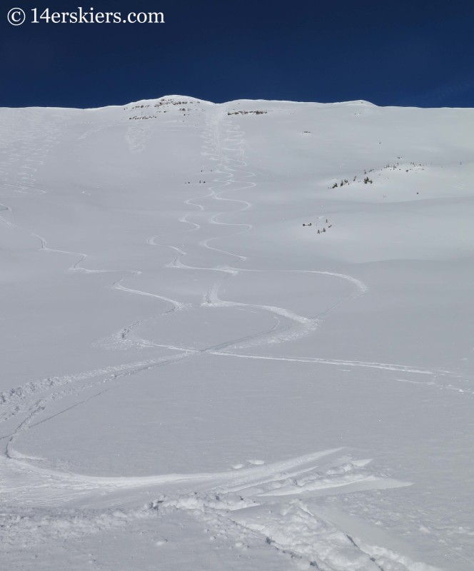 Tracks on Red Lady bowl while backcountry skiing in Crested Butte.