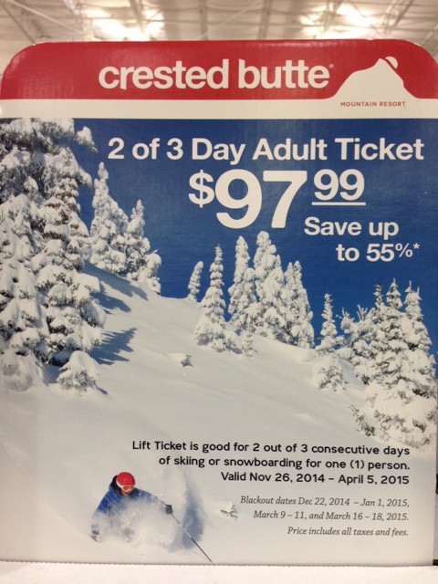 A sign at Costco advertising Crested Butte Lift Ticket Deals.