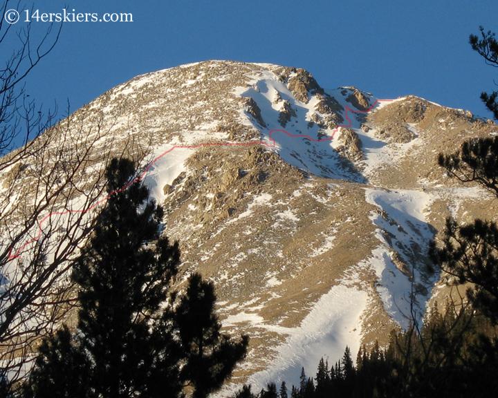 Ski line on Mount Yale