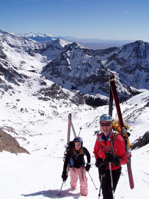 Brittany Walker Konsella & Pam Rice climbing Crestone Peak.