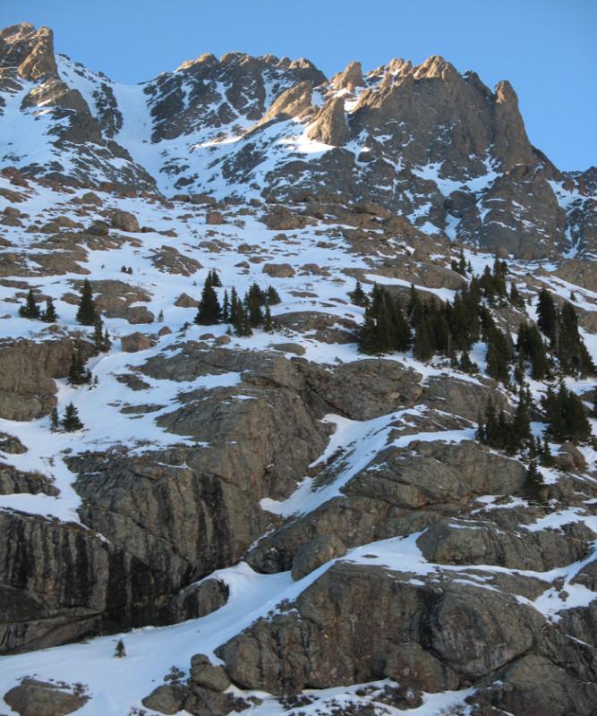 skiing Crestone Peak.