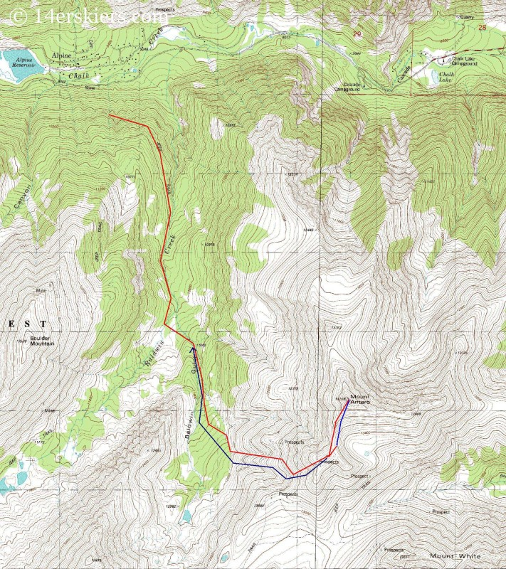 Map of Mount Antero backcountry ski.