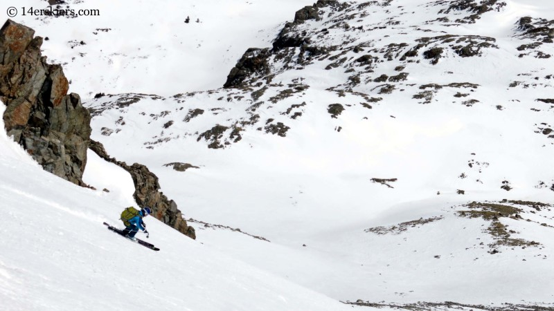 Brittany Konsella backcountry skiing in the southeast couloir on La Plata