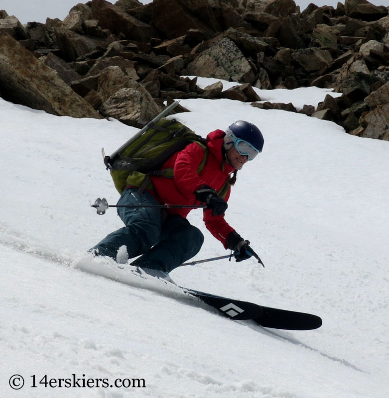 Brittany Konsella spring skiing on Black Diamond Carbon Megawatt