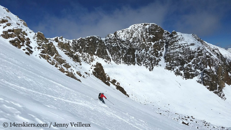 Brittany Konsella backcountry skiing on Halloween near Crested Butte.