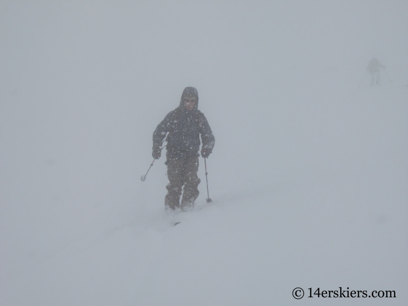 Backcountry skiing on Culebra Peak.