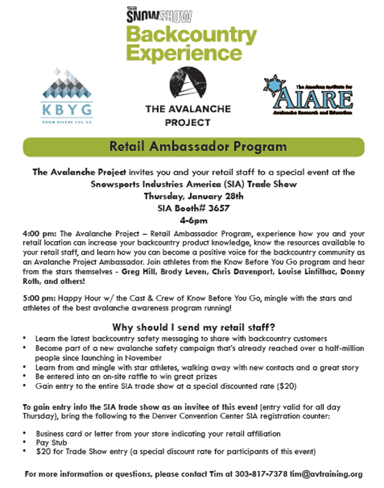 Details of the Retail Ambassador Program Presentation to be held Thursday Jan 28th at SIA (Denver Convention Center).