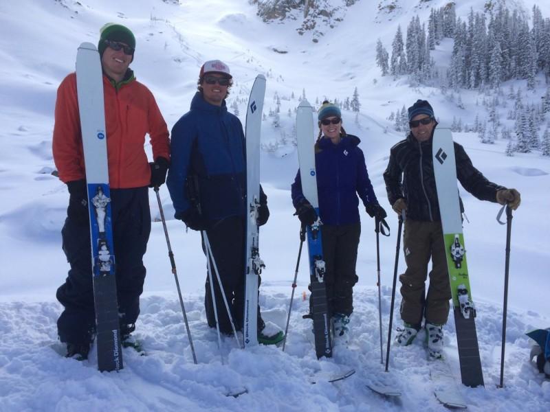 Testing out the new Black Diamond Helio skis: Jordan White, Sam Coffey, Brittany Konsella, Frank Konsella