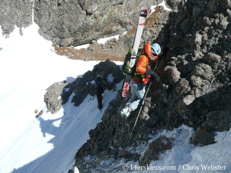 Pam Rice climbing Crestone Needle