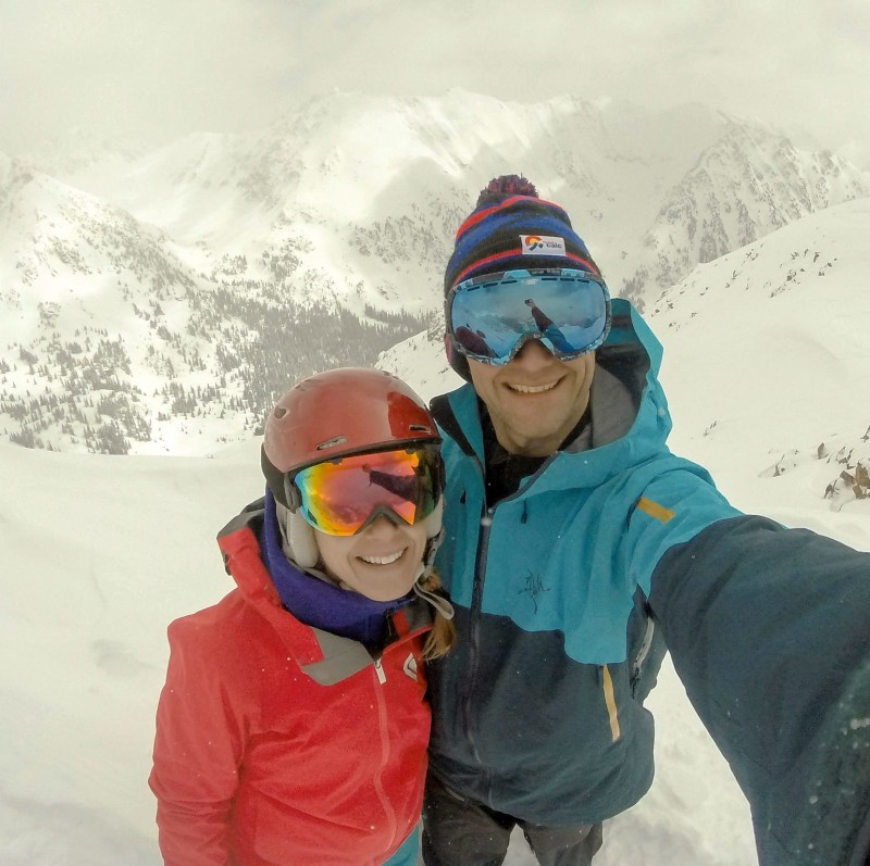 Brittany Walker Konsella and Dave Bourassa on top of Outpost Peak in the Gore Range.