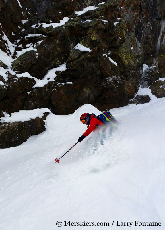 Brittany Walker Konsella backcountry skiing Purple S Couloir, Crested Butte backcountry