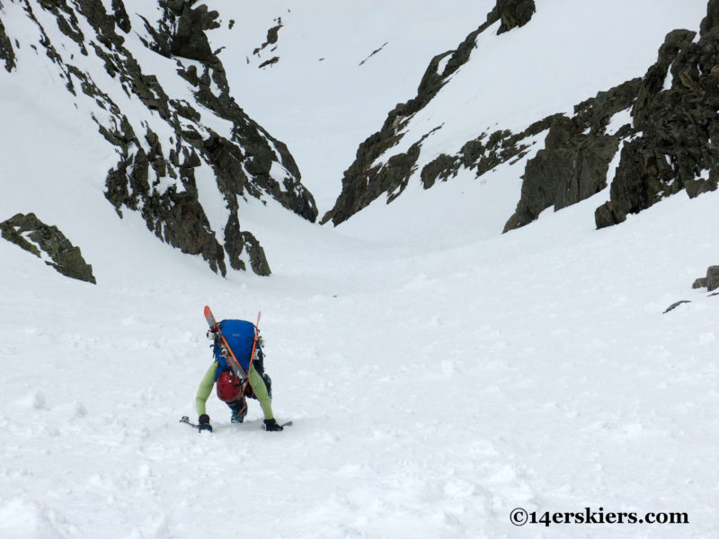 Brittany Konsella climbing Northstar Couloir on North Arapahoe Peak