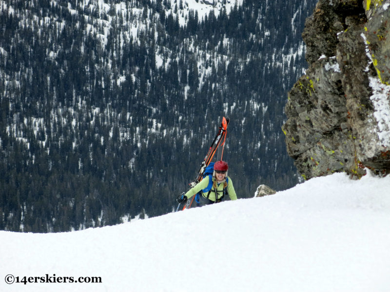 Brittany Konsella climbing Northstar Couloir on North Arapahoe Peak.