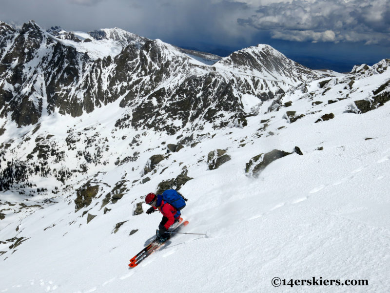 Brittany Konsella backcountry skiing on North Arapahoe Peak in the Indian Peaks Wilderness.