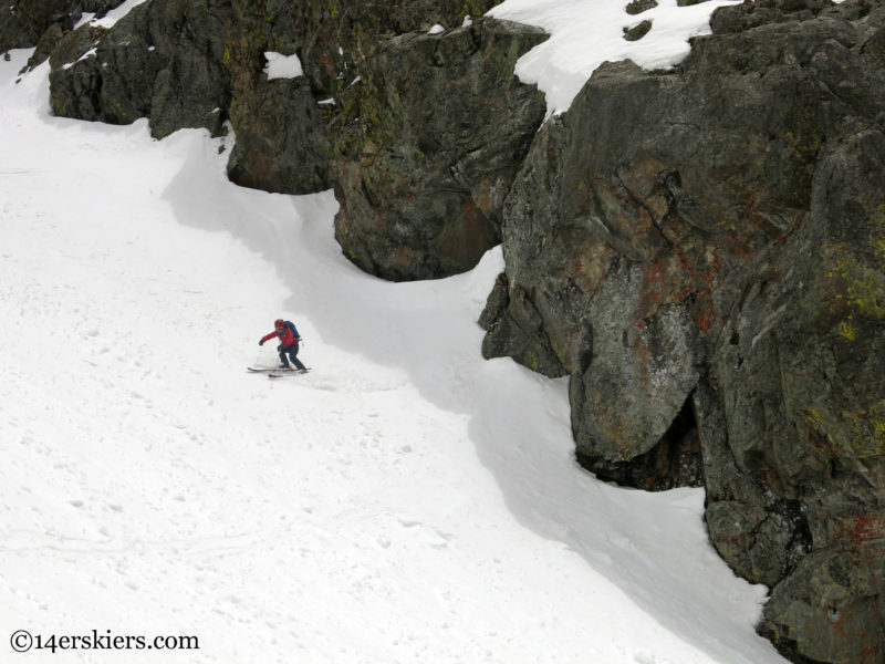 Brittany Konsella backcountry skiing Northstar Couloir on North Arapahoe Peak.