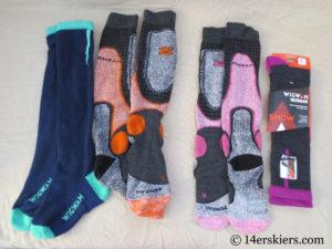 Wigwam and Zensah socks for backcountry skiing.