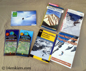 Guidebooks and maps for backcountry skiing in Colorado.