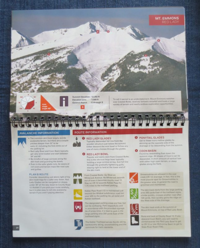 Crested butte off-piste atlas, crested butte guidebook
