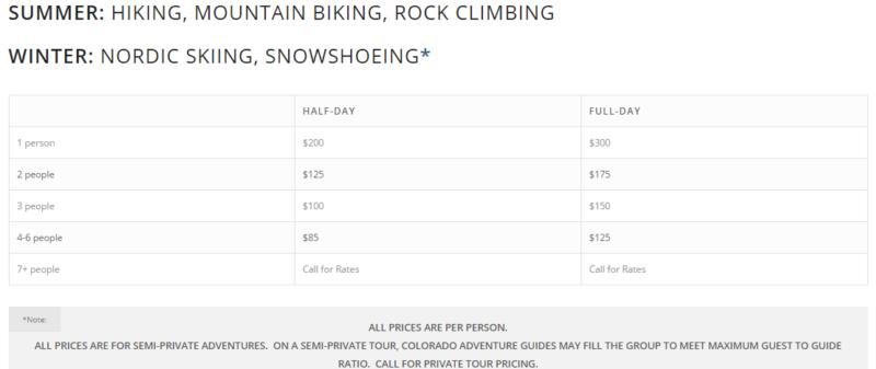 Colorado Adventure Guides rates.