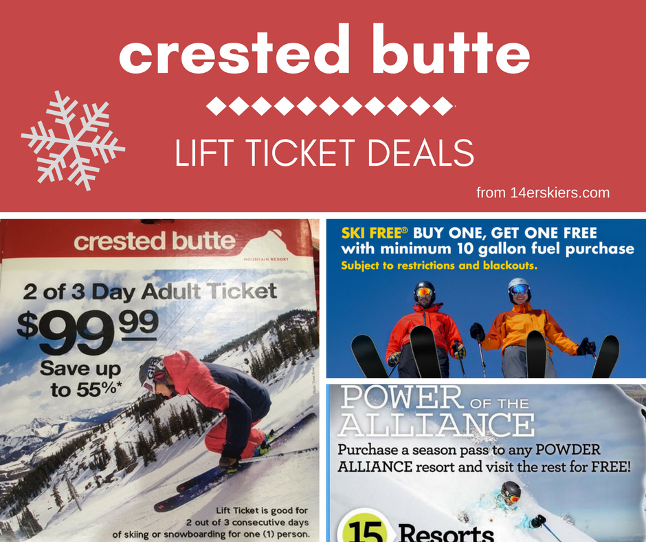 2015-2016 Crested Butte Lift Ticket Deals