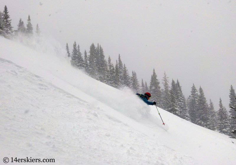Powder backcountry skiing in Colorado.