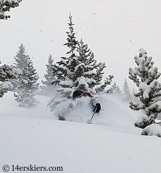 Backcountry skiing on a powder day in Colorado