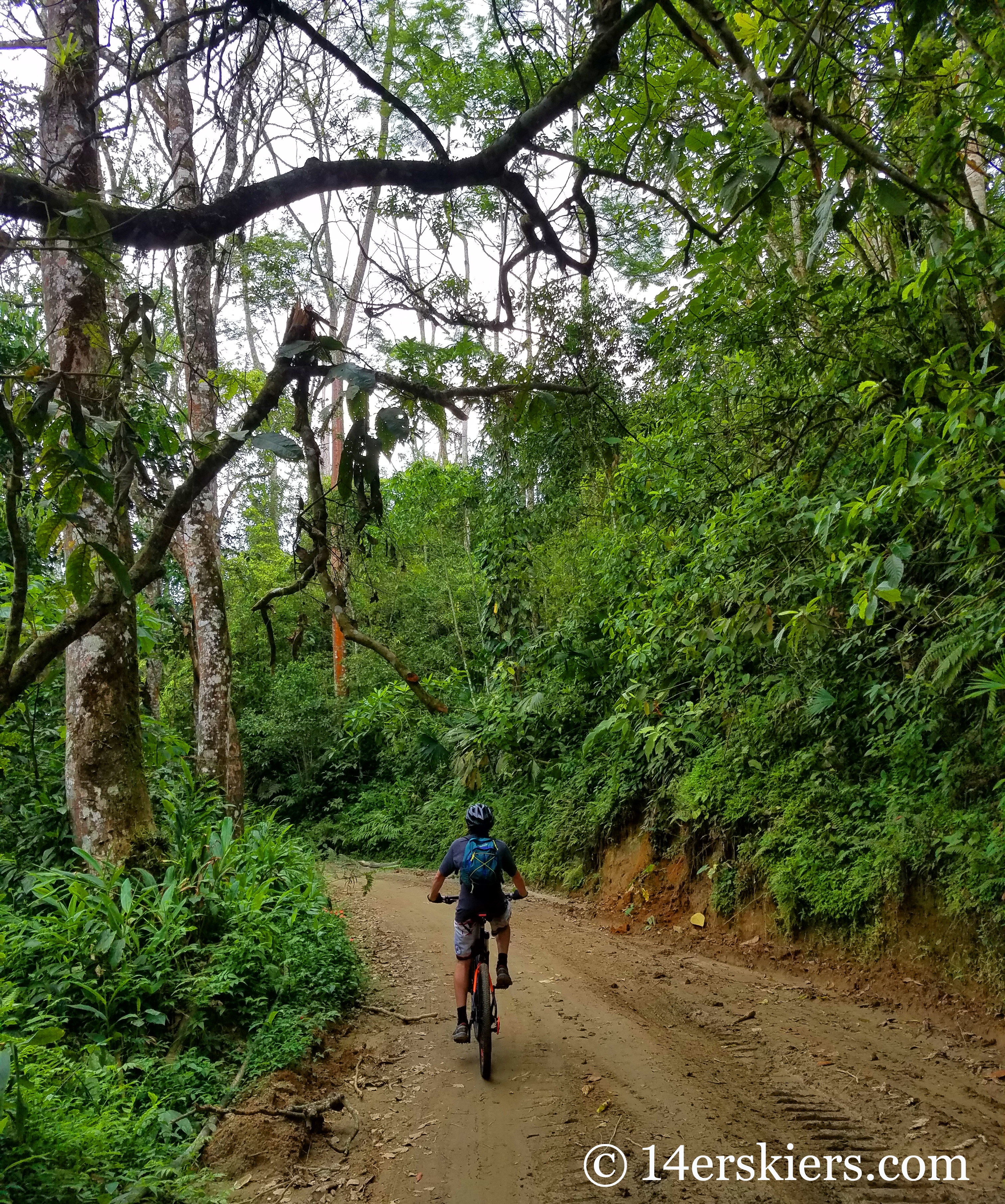 Mountain biking in Minca, Colombia.