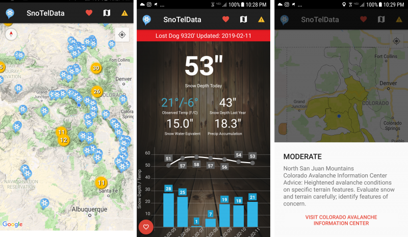 SnoTel Mobile app